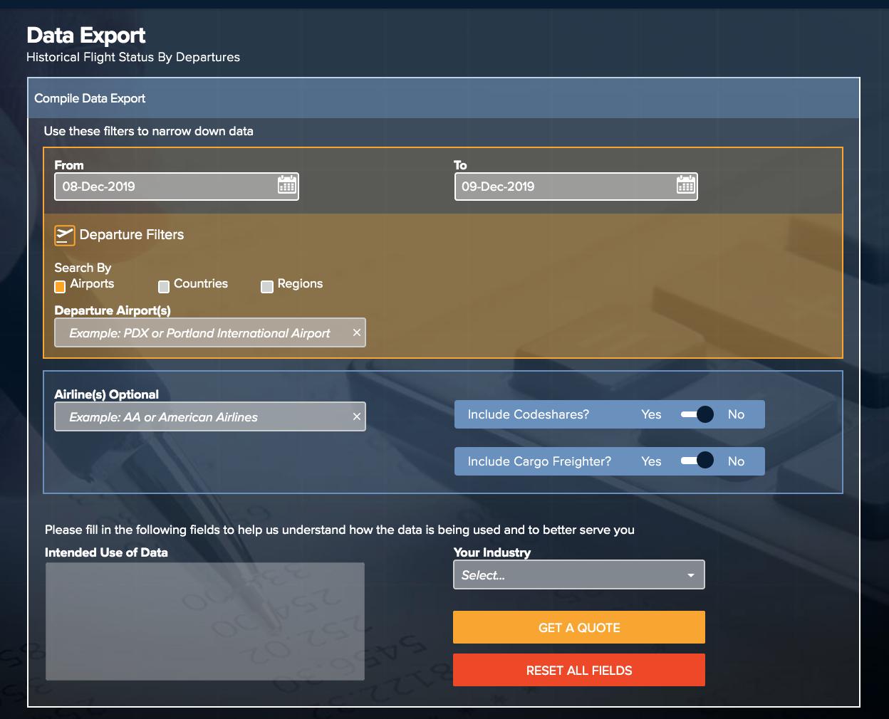 FlightStats by Cirium historical flight status data export
