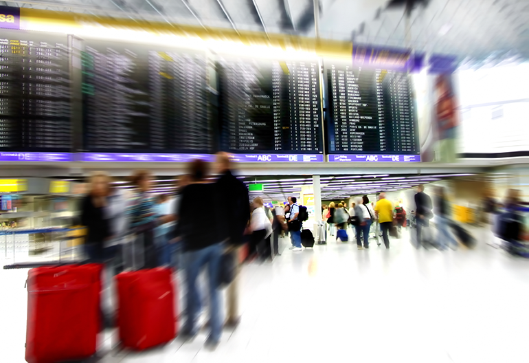 Crowded Airport terminal -connect the dots during travel disruption events