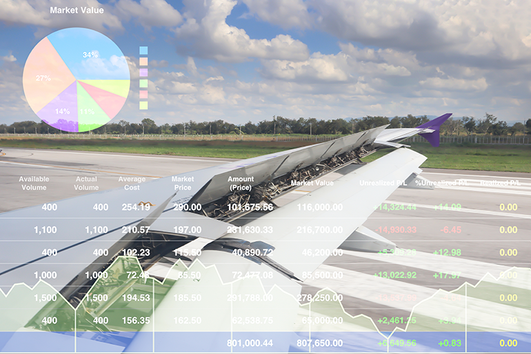 View of runway over right wing of airplane in motion, various aviation statistics overlay