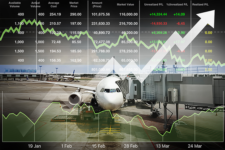 View of stationary commercial airplane with various net profit statistics overlay