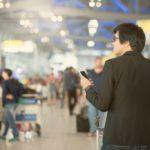 passenger walking through airport