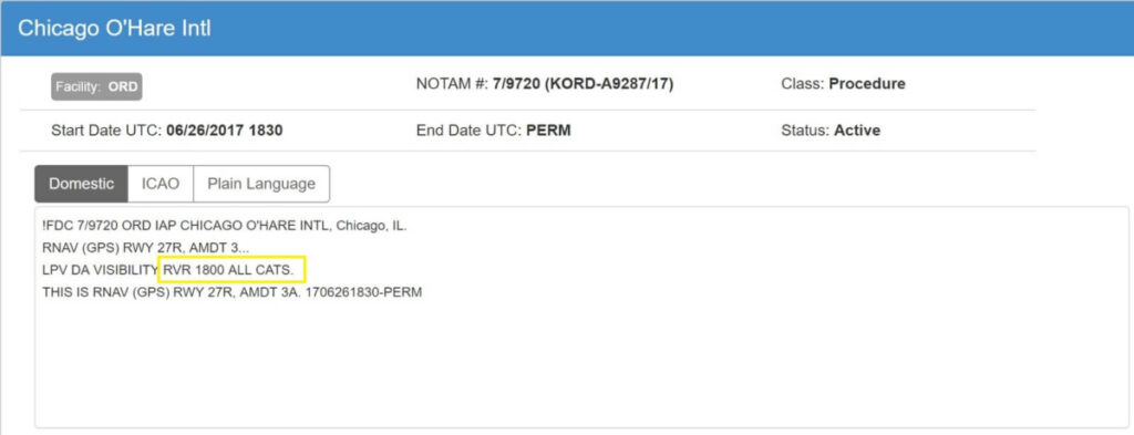 Chicago NOTAM alert example of navigation or visibility change.
