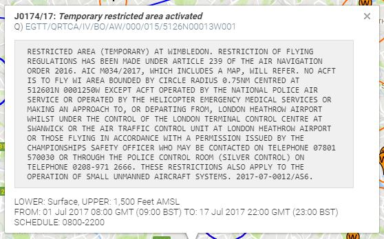 Example of a NOTAM
