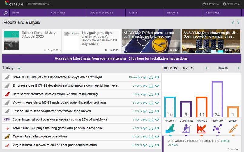 Cirium Dashboard homepage view