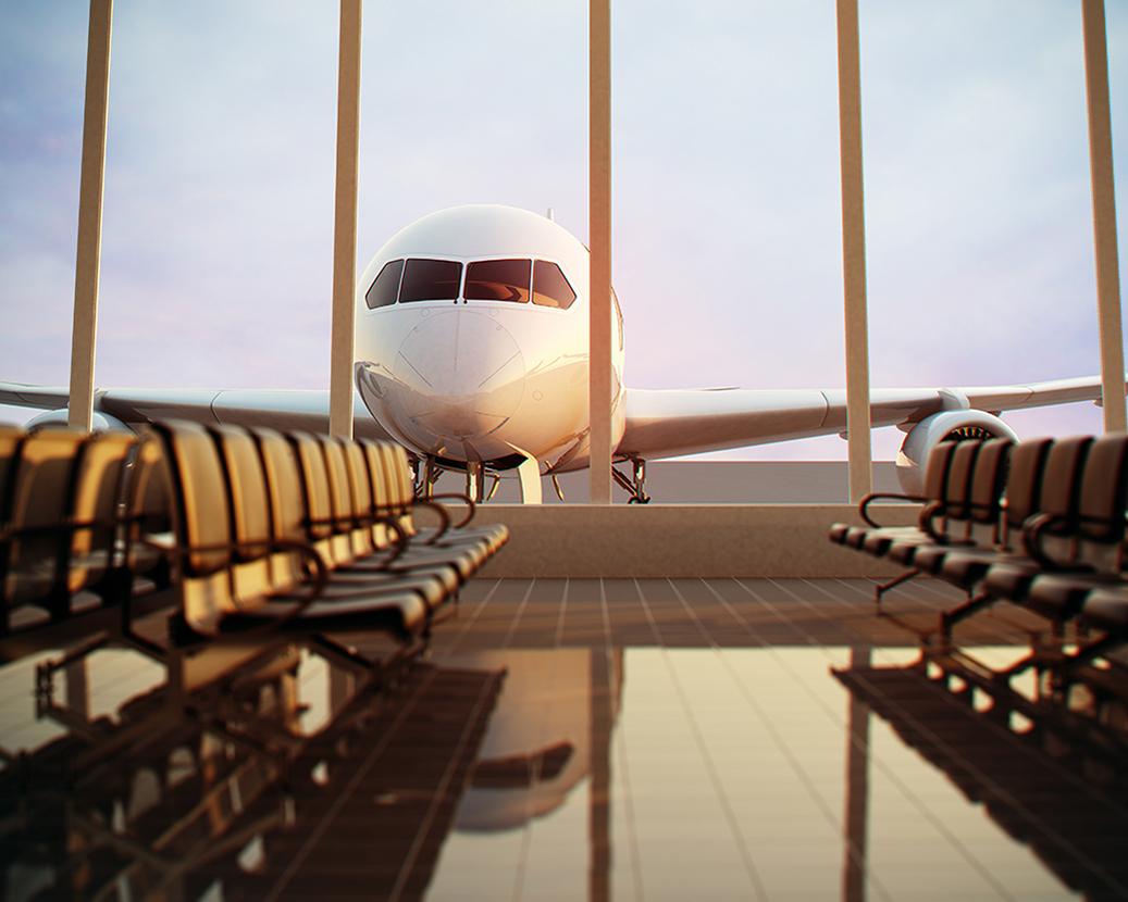 airplane through terminal window