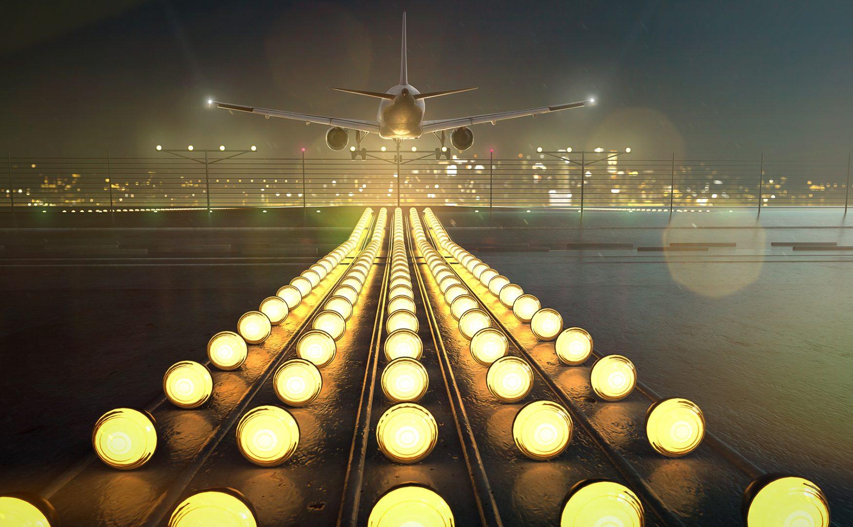 airport Runway at night