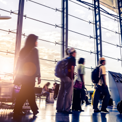 business travelers as part of a corporate travel program