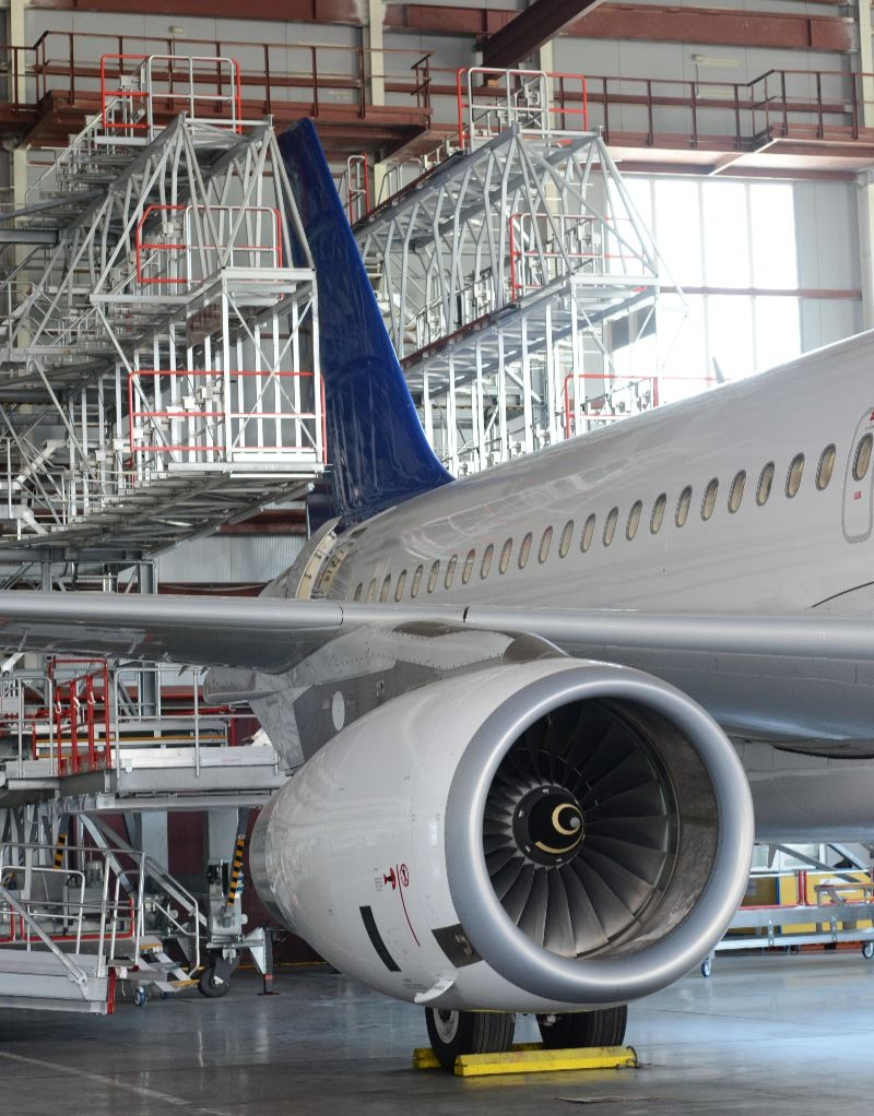 aircraft maintenance in hangar