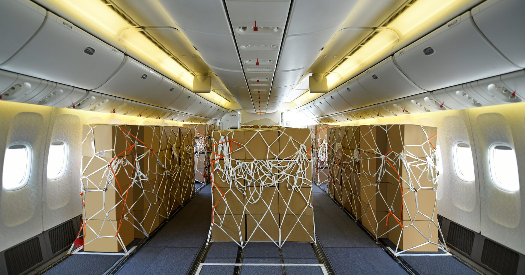 Emirates 777 with seats removed for cargo