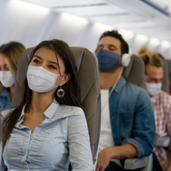 passengers, travelers on a airplane