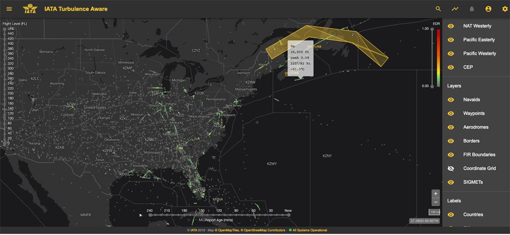 Screenshot of IATA Turbulence Aware