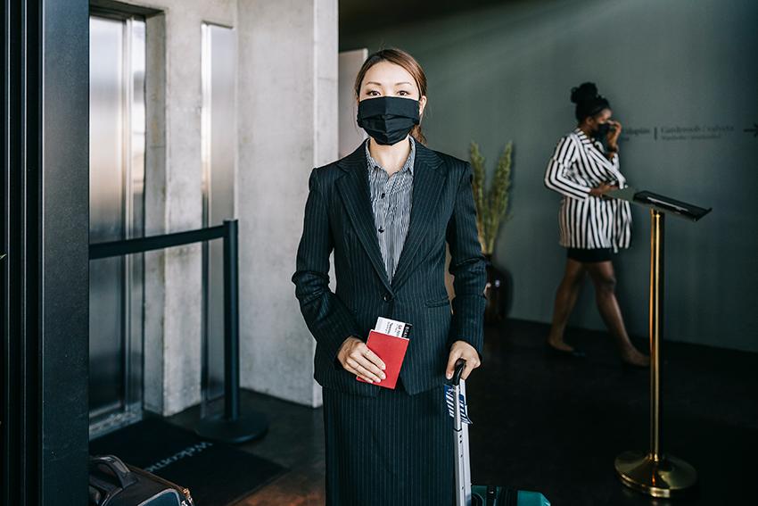 Business woman airline passenger ticket