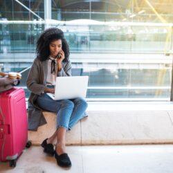 Corporate traveler waiting for flight