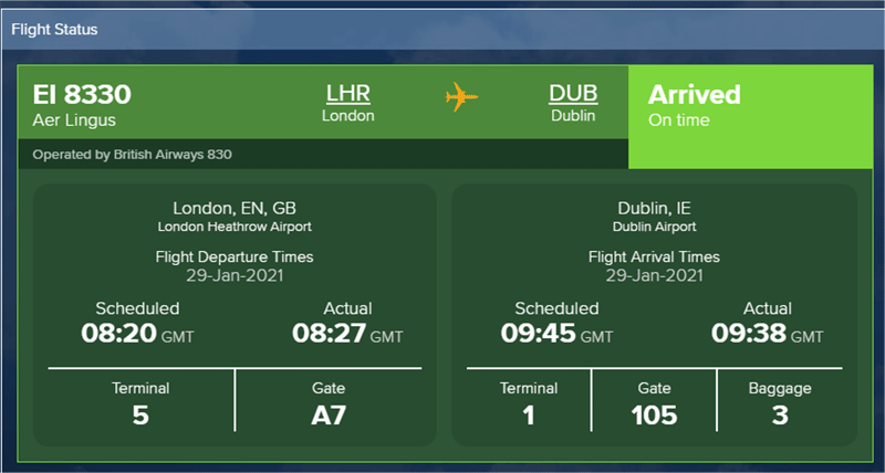Flight Status screen shot
