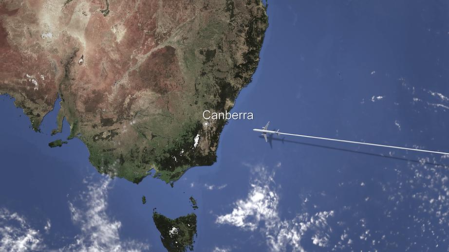 Airplane to Canberra, Australia