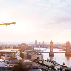 Airplane over London