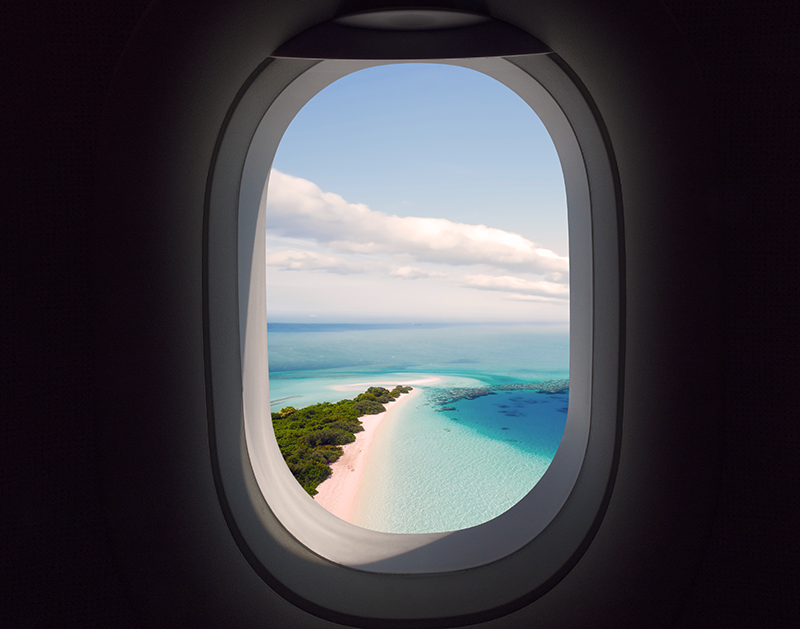Airplane window vacation
